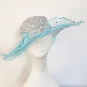 Tulle and weave Spring/Summer wide brim Hat